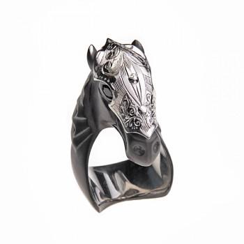 Black Sapphire Horse Ring